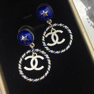 Authentic Blue Enamel Gold Tone Chanel Earrings